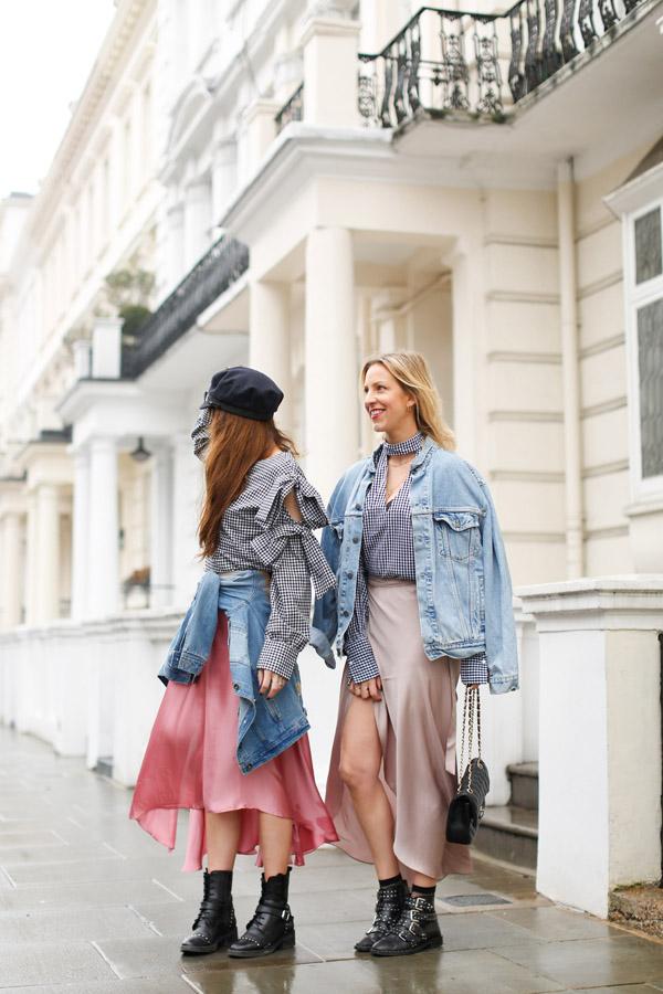 belle & bunty london fashion week street style looks bloggers designers gingham satin skirts