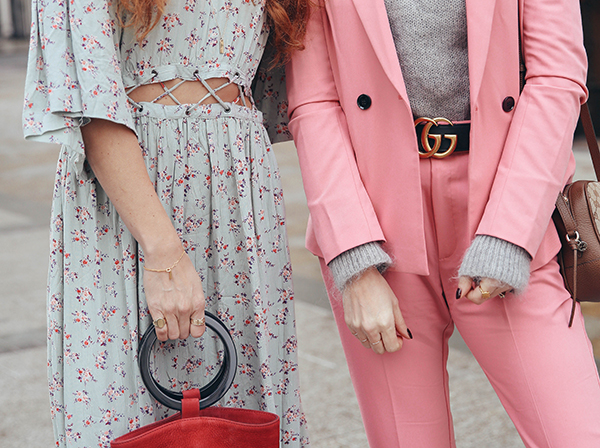 Belle and Bunty Bond Street pink suit chunky dad trainer trend gucci bag